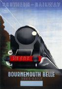 Vintage Travel Poster Bournemouth Belle Southern Railway